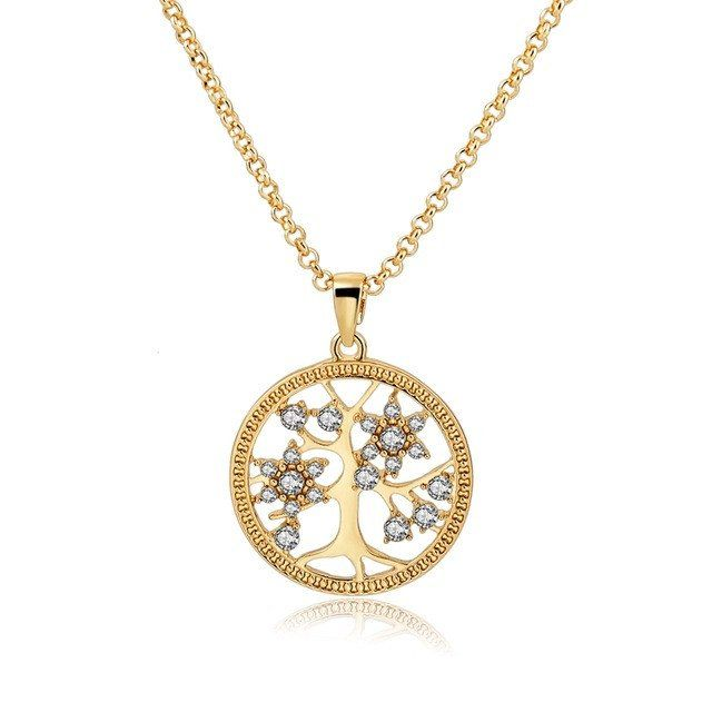 Gold Color Chain Necklace With Crystal Tree of Life Pendant