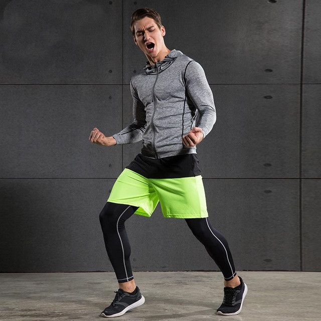 Detector Sports Long Sleeve Mens Running Tights Shirt Basketball Reflective Zipper Fitness Breathable Quick-Drying Stretch Tops