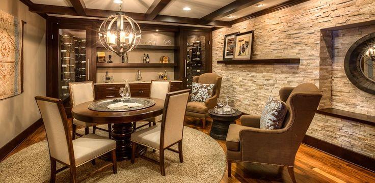 Guildcraft, LLC | Gallery | Wine Cellars & Wet Bars Custom Wine Cellar/Tasting Room with Floating Shelves, Custom Ceiling Beams, Wine Fridge Racks, Cabinets and Counterspace