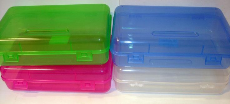 """NEW Large Plastic Office School Pencil Box Art Storage Case 8.25"""" x 5"""" x 2.5"""" in Other 