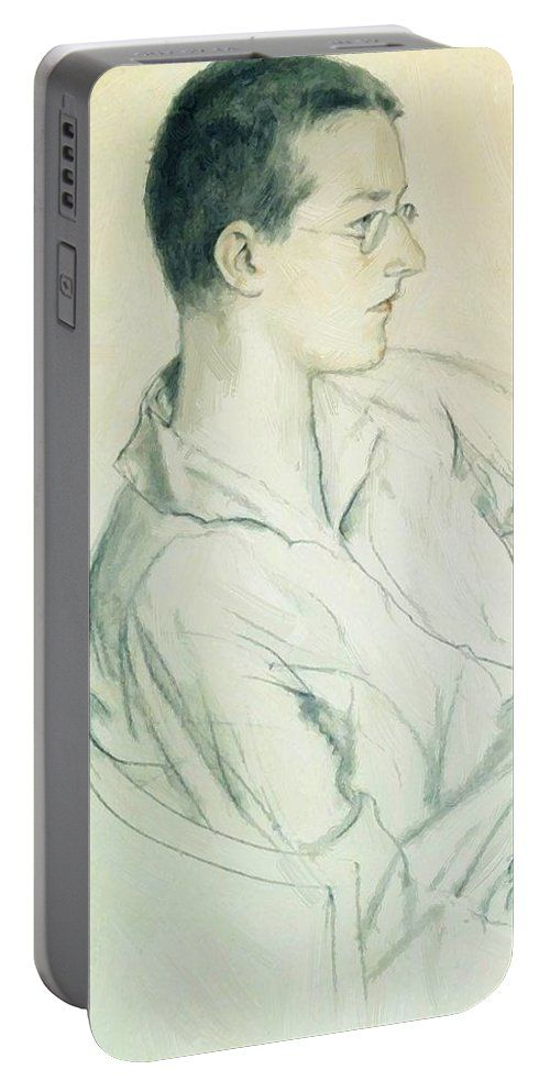 Portrait Portable Battery Charger featuring the painting Portrait Of Composer Dmitri Shostakovich In Adolescence 1923 by Kustodiev Boris