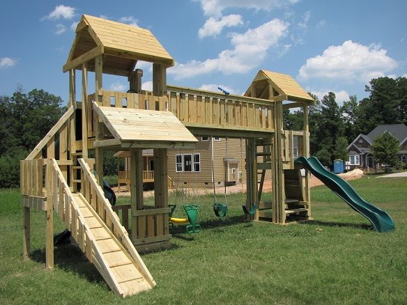 bridge connecting playhouse and slide | Kids Korner ...