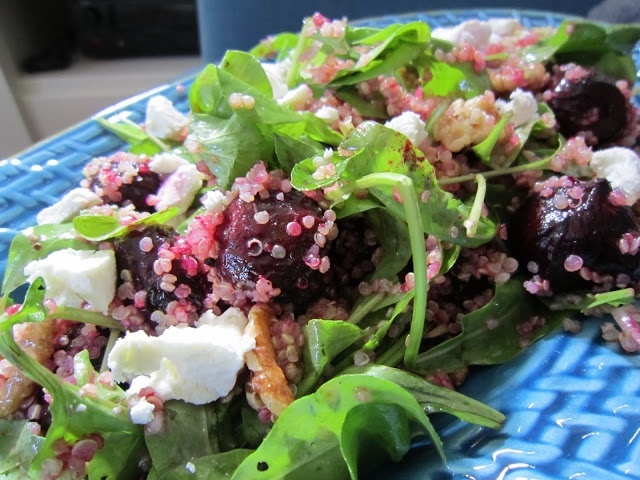 beet and quinoa salad. with walnuts, arugula and goat cheese. I LOVE ...