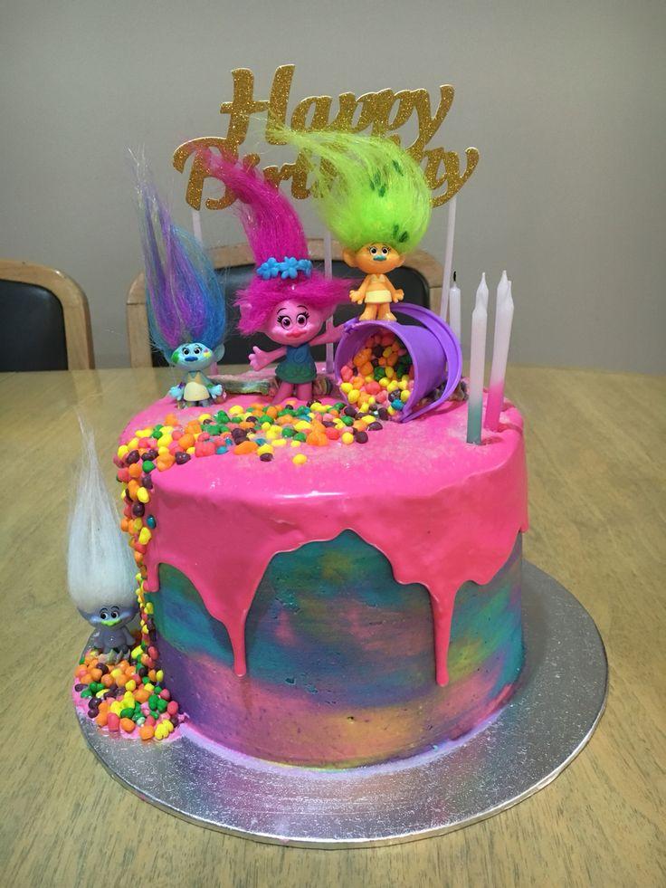Trolls water color drip cake