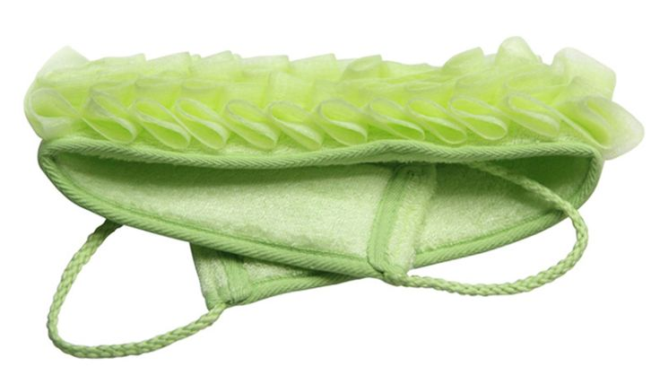 Yunko Double Scrubbing Shower Body Back Scrubber Back Shower Brush Long Handle Deep Exfoliating Bath Sponge Loofah Bamboo Fiber. Back Scrubber Size: 23*4*3 inch, can use the hanging loop. Back Scrubber Color: Green, the color of the bamboo. Double-sided design and double material: The shower glove is on both sides and made from natural bamboo fiber and PE. First to rub skin with smooth surface, then use the other side with shower gel or soap gently to produce rich foam, finally rinse your...