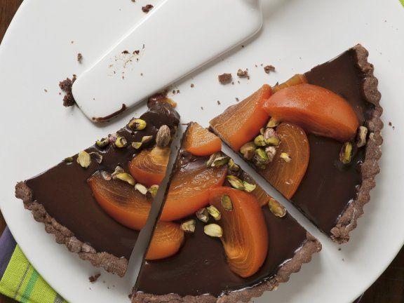 Rezept: Schokoladentarte mit Sharonfrucht