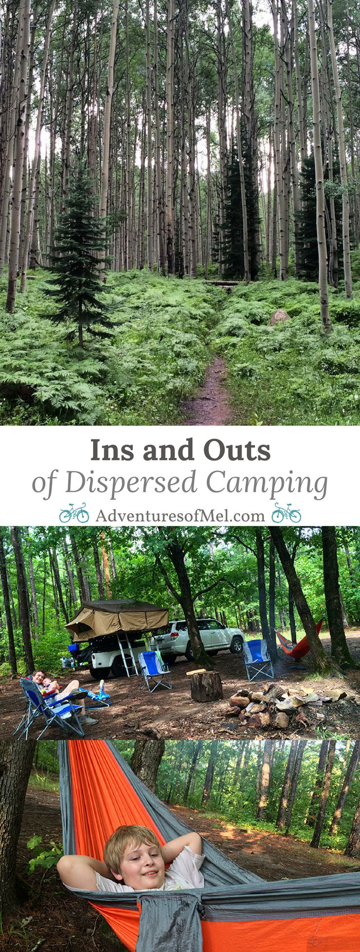 What dispersed camping really is, where to camp, rules for dispersed camping, tips and camping supplies we recommend for family camping in the wild, and why we love it more than any other type of camping, so much so that we can't imagine any other type of camping.