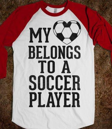 My Heart Belongs to A Soccer Player (Baseball Tee)