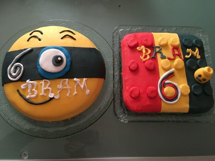 Voor mijn zoon Bram zijn 6de verjaardag gemaakt!Minion taart en een LEGO taart.
