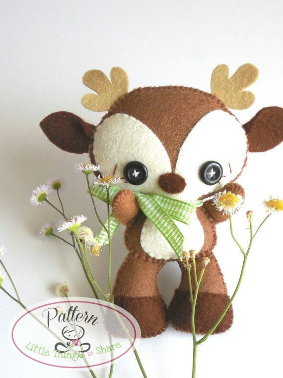 Brown Deer PDF pattern-Woodland animals por LittleThingsToShare