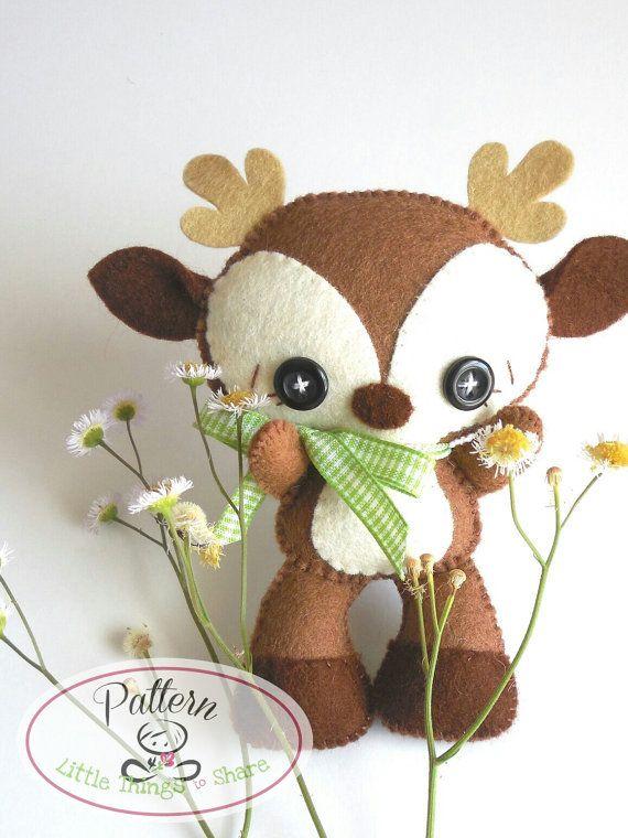 Brown Deer PDF pattern-Woodland animals por LittleThingsToShare