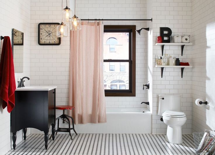 raoul textiles Bathroom Eclectic with 3x6 Subway Tile black white and red