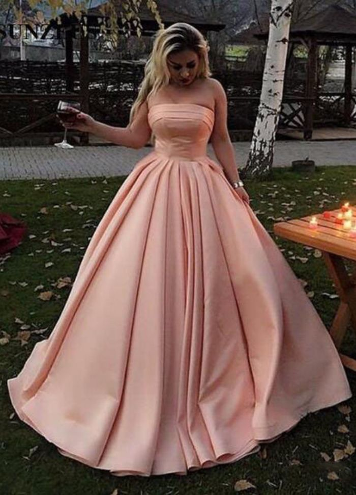 Strapless Ball Gown Satin Prom Dresses Long   Satin prom ...