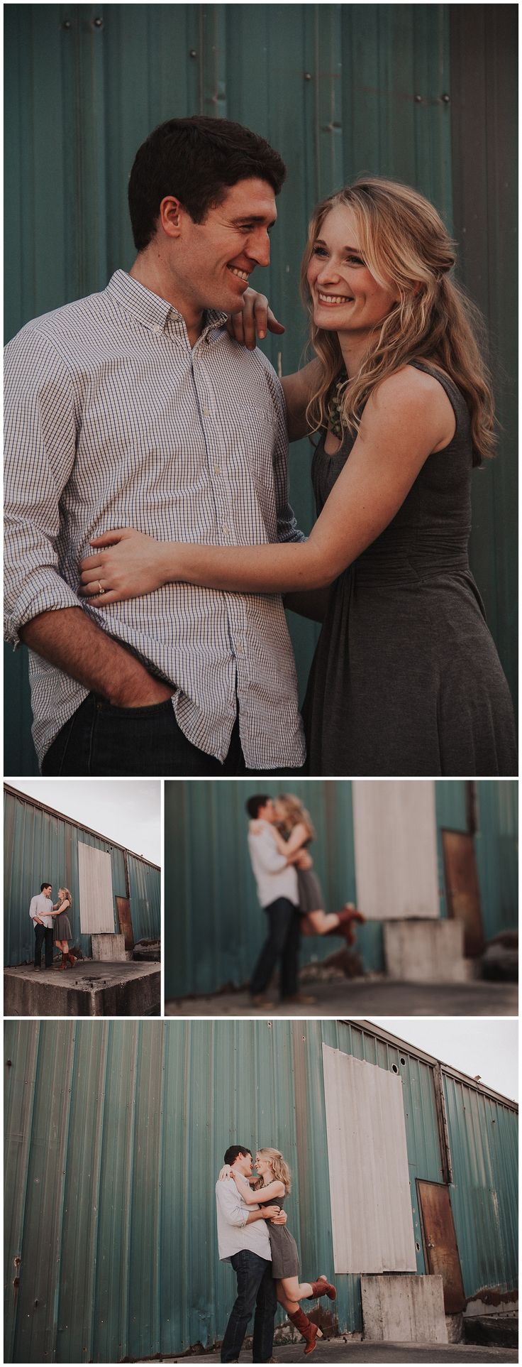 Intimate Engagement in Soulard downtown St. Louis, Missouri. It was the perfect urban setting and just down the street from the church they were getting married at the very next day. Teal warehouses and sunset made this session gorgeous. Dark & moody Images for Wild Souls by Green Bay, Wisconsins husband and wife Elle x Troy Photography.