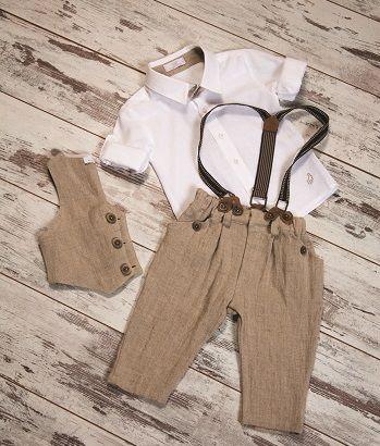 Vest, Shirt, Capri Linen Pants & Suspender  #cute #boysfashion #children #kidswear