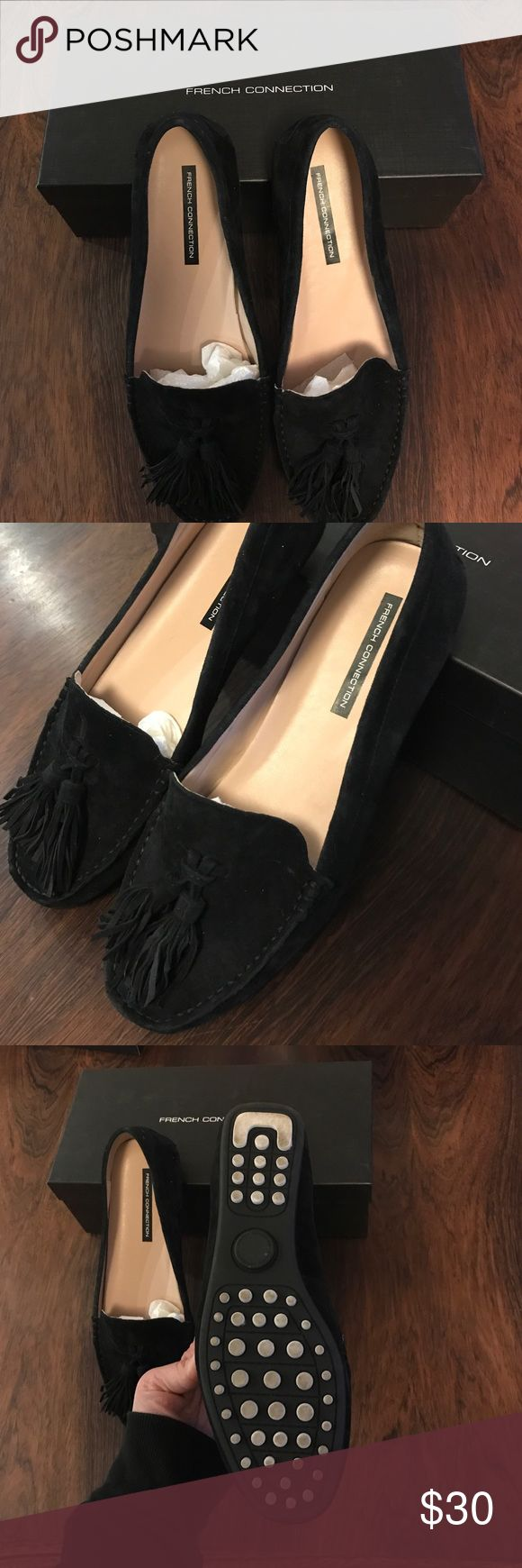 French Connection Black Suede Loafers Super comfortable and adorable loafers! They are Black Suede with on-trend tassels. They were worn one time outside of the house. French Connection Shoes Flats & Loafers
