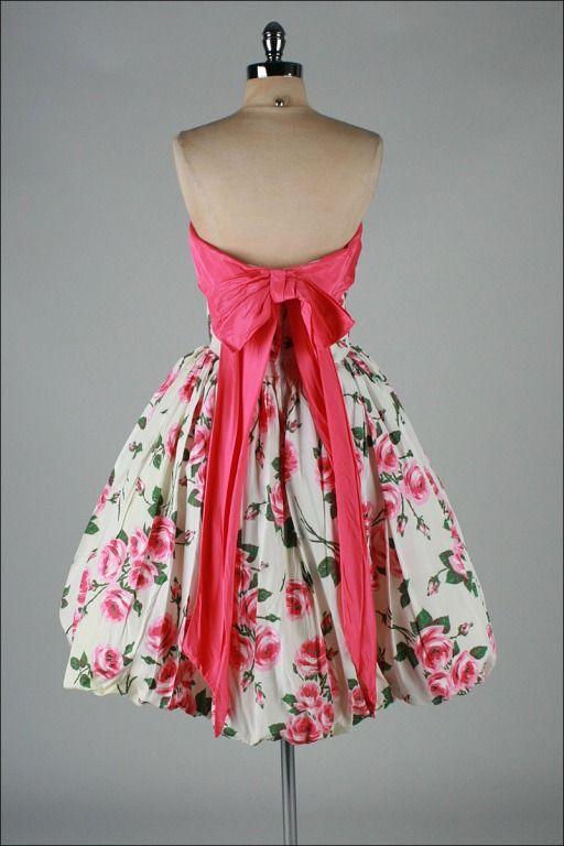 Vintage 1950s Strapless Dress, Pink Rose Print, Bubble Hem, Pink Bow Back
