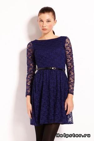 Oasis платье синее кружевное