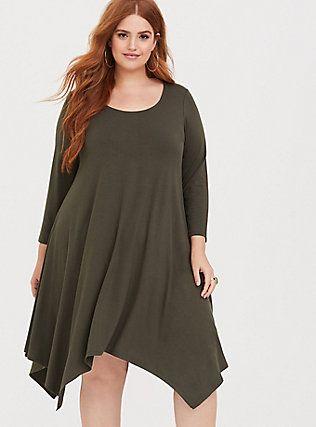 03bef5b9c06 Olive Jersey Handkerchief Dress