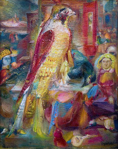 """Гаянэ Хачатурян (1942-2009 гг) """"Красное зеркало и птицы"""""""