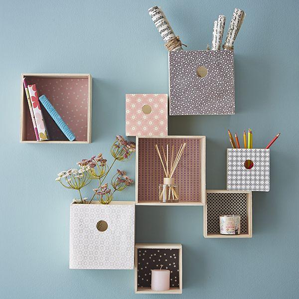 Les 25 meilleures id es concernant etagere cube murale sur pinterest etager - Etagere murale carre ...