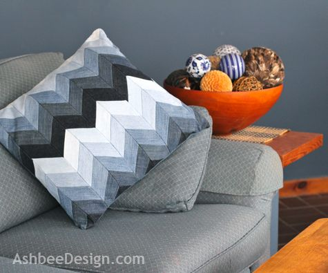 Ashbee Design: Chevron Pillow from Beloved Old Jeans • DIY