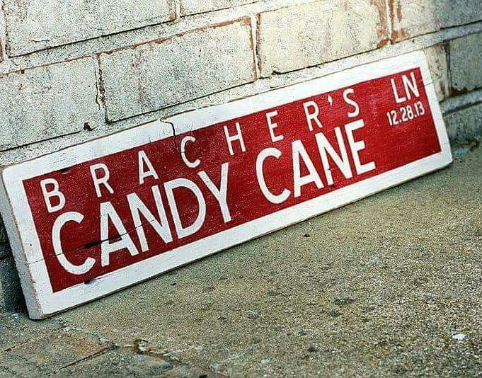 """Sweet """"Candy Cane Lane"""" sign for a wedding reception candy"""