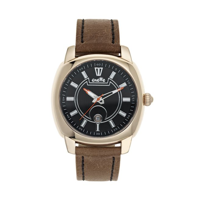 Oxette rose gold stainless steel Watch & brown leather band - Available online here: http://www.oxette.gr/rologia/watch-unisex-brown-black-rose-gold-s.steel-iprg-497l-1/      #watch