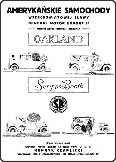 Retro REKLAMA - Amerykańskie samochody Oakland, Scripps-Booth - 1920 rok