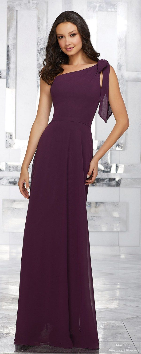 One Shoulder Chiffon Bridesmaids Dress with Removable Shoulder Bow | Deer Pearl Flowers
