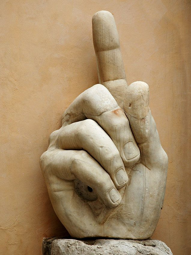 The two metre high hand of the colossus of Constantine.  -- Marble. 312—315. Rome, Capitoline Museums, Palazzo dei Conservatori, Courtyard.