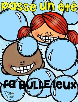** FREE ** Enjoy this End of the Year Freebie for your students - Passe un été 'fabulleleux' - perfect to attach to a container of bubbles for the summer!
