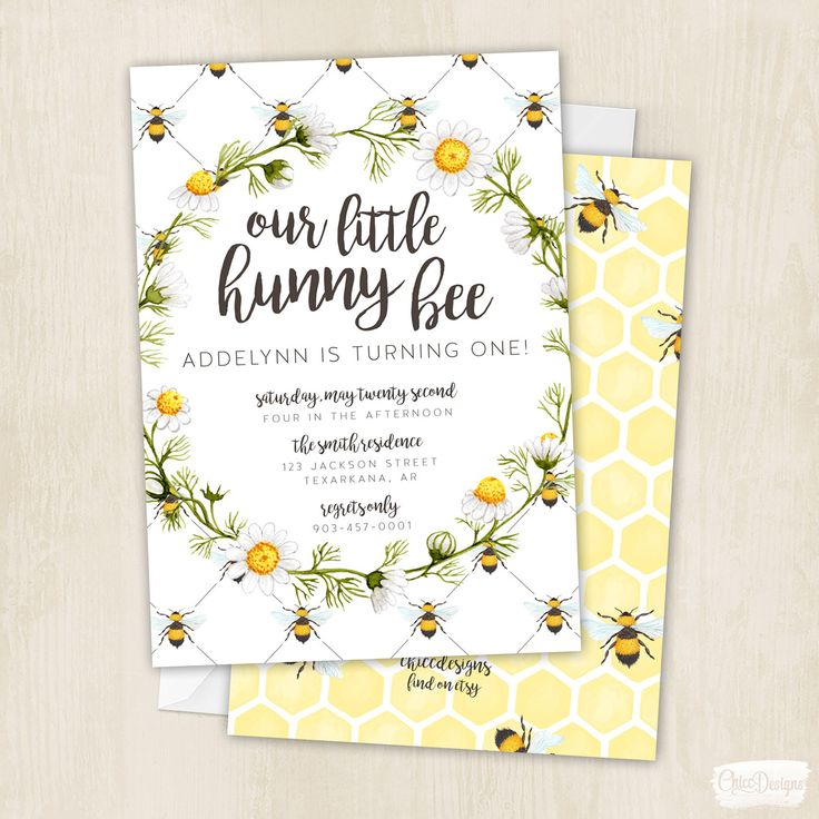 Hunny Bee - Birthday - Honey Bee - Bees - Honey Birthday Party - First Birthday - Bumble Bee - Invitation - Digital/Printable File by ChiccDesigns on Etsy