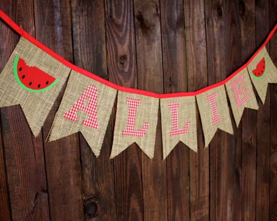 Girl Name Watermelon Red Gingham Custom Name Burlap Bunting Banner for Nursery, First Birthday Party, Playroom Decoration, Photo Prop, or Girl's Bedroom Decoration by MsRogersNeighborhood Etsy shop