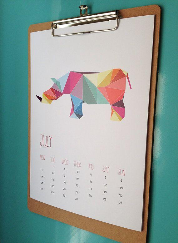 2015 Calendar - Geometric Animals / wall calendar A5
