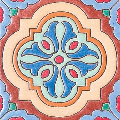 "#506 Catalina Moorish Dot, 6X6"" Ceramic Tile"