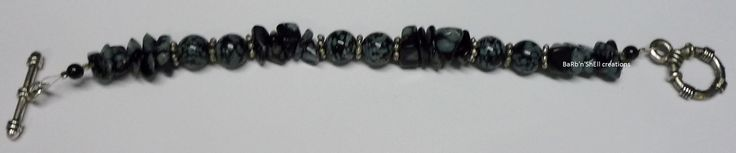 BaRb'n'ShEll Creations-Bracelets, Snowflake obsidian - BaRb