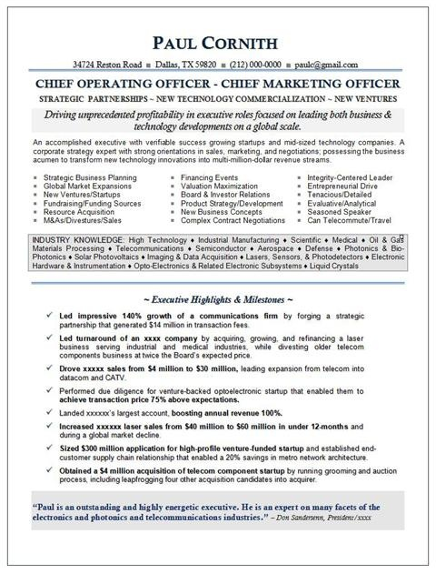 CMO Resume For Executive With Awesome Exp. Securing Funding And Growing  Startups In High Tech