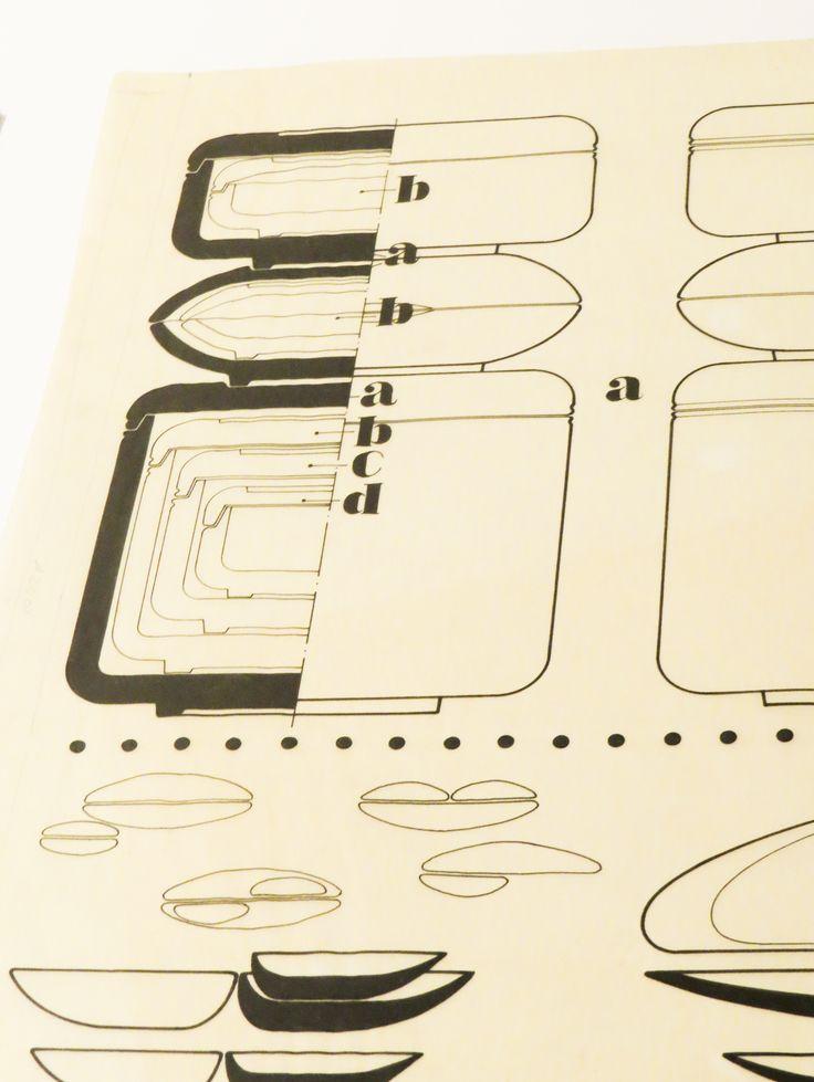 tableware sketches by Ilmari Tapiovaara