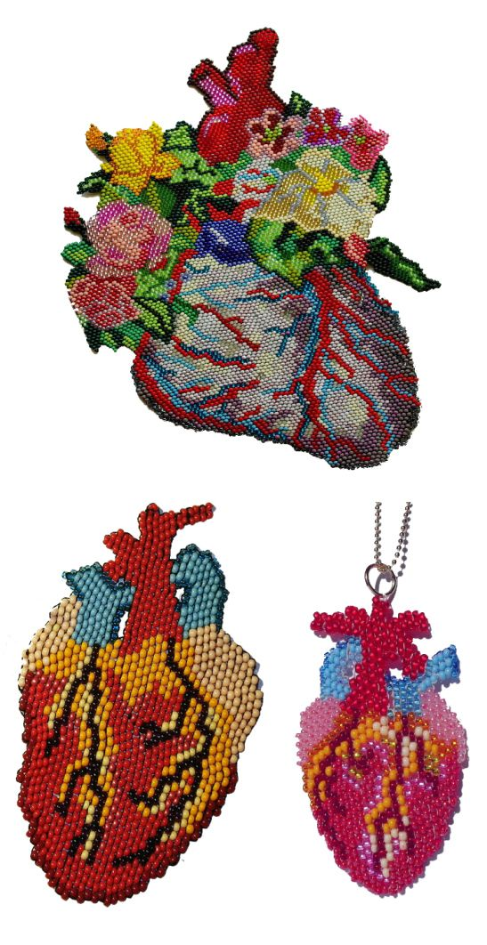These anatomical hearts are hand beaded from Rocailles beads by Ukraine craftist Olya Mytsko. Her collections are available on Etsy.