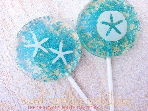 Beach Wedding Favors, Blue Wedding Favor, Beach Wedding, Candy Lollipops, Candy, Sparkle Lollipops, Sweet Caroline Confections SIX LOLLIPOPS