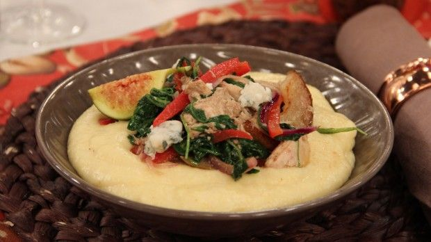 Gorgonzola Polenta with Leftover Roast Chicken | Steven and Chris | This Mediterranean-inspired dish is a great way to try something new with last night's chicken.