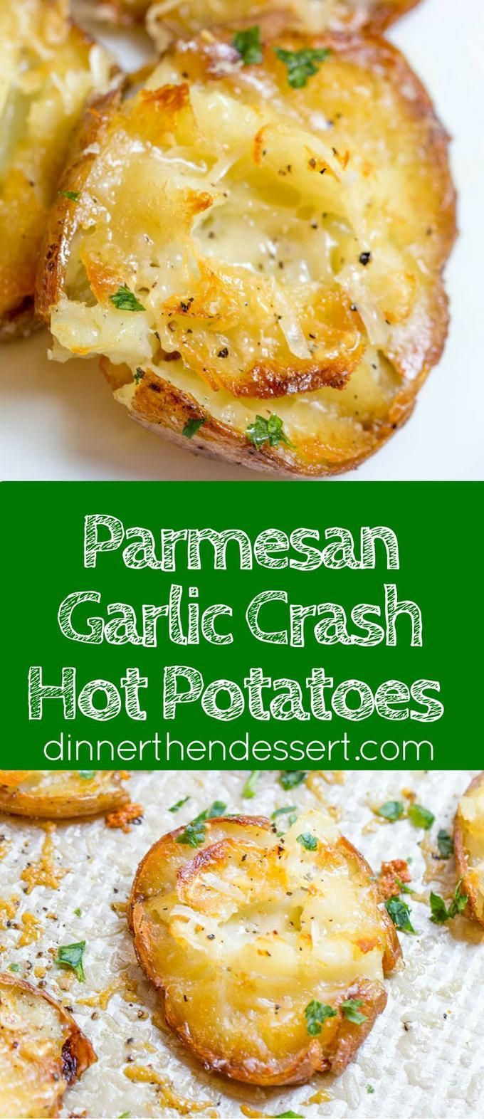 Parmesan Garlic Crash Hot Potatoes are crispy, creamy, cheesy and garlicky.