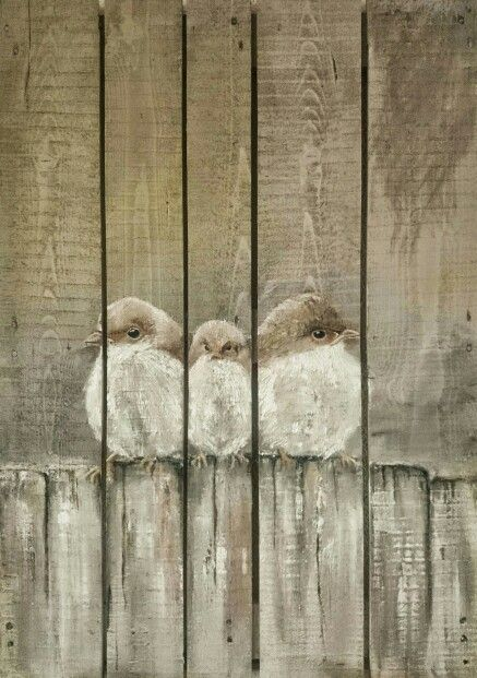 Sonja Roosenhart. Painting on old wood / pallet 70x100 #pallet #Oilpainting #art #birds #rustic