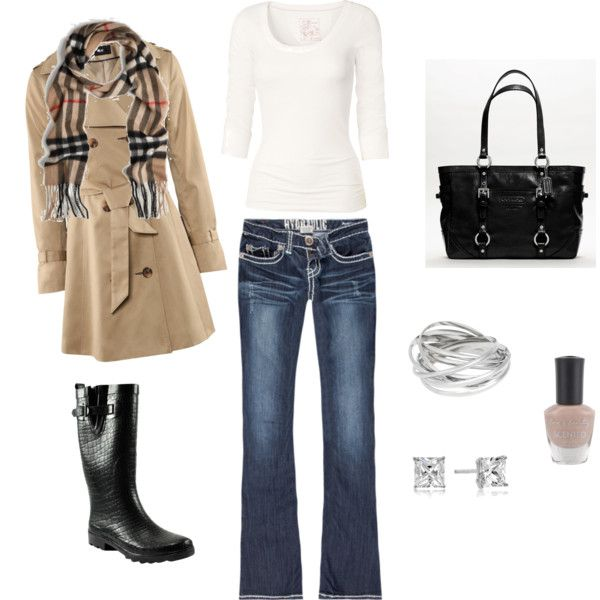 Outfit: Rain Outfits, Fall Style, Rain Boots, Burberry Scarfs, Fashion Style Outfits Clothing, Fall Outfits, Casual Outfits, Rainy Days, Perfect Outfits