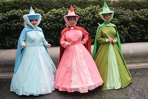 Flora, Fauna, and Merriweather - laura, debz we should soo do this for halloween!! Bagsy the blue one!! :-)