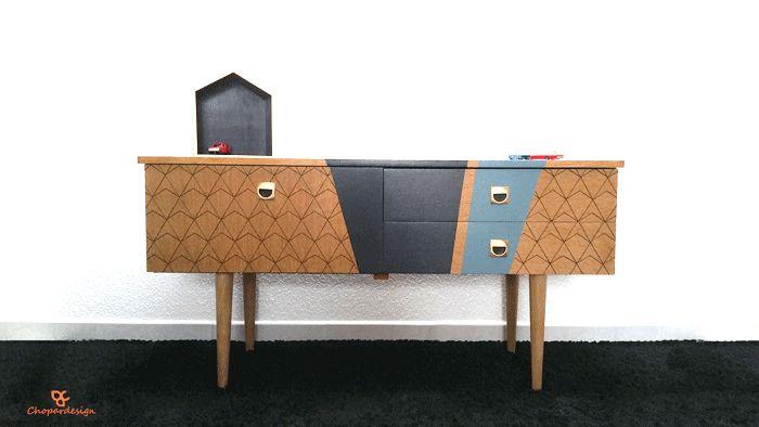 Commode vintage en bois 4 tiroirs années 50 60 / VENDU « CHOPARDESIGN