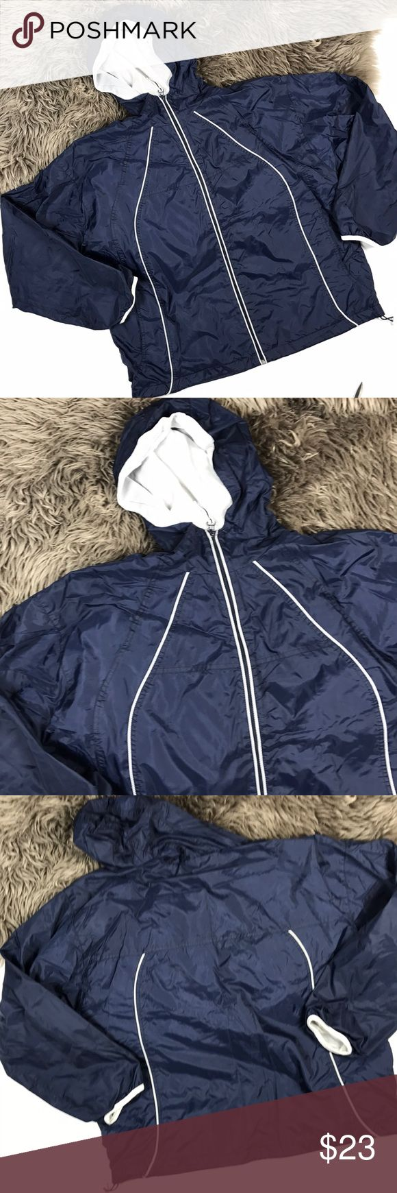 Wilson windbreaker jacket Men's jacket adjustable straps at bottom. White lining throughout. Breathable inside lining. Small stain on inside. Length: 26 in shoulders: 22.5 armpits: 25.5 sleeves: 22 in oversized fit. Hood string missing ‼️‼️BLACK Friday Sale ONLY‼️‼️back to normal price Sunday night Wilson Jackets & Coats
