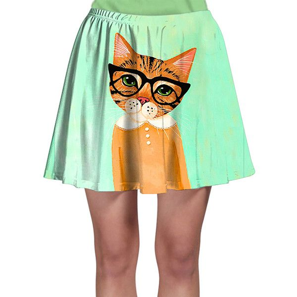 Laronna Mint Nerd Cat A-Line Skirt (93 RON) ❤ liked on Polyvore featuring skirts, plus size, long a line skirt, plus size long skirts, mint skirt, knee length a line skirt and print skirt