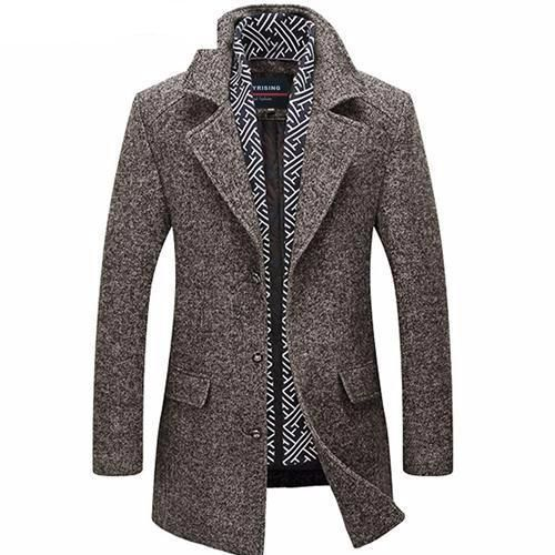 West Louis™ Men Long Wool Coat & Blends Winter